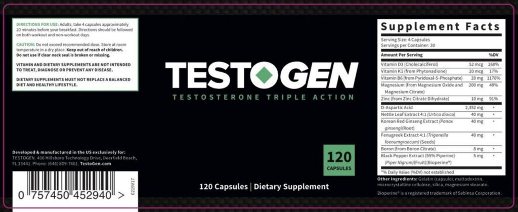 Ingredients of TestoGen